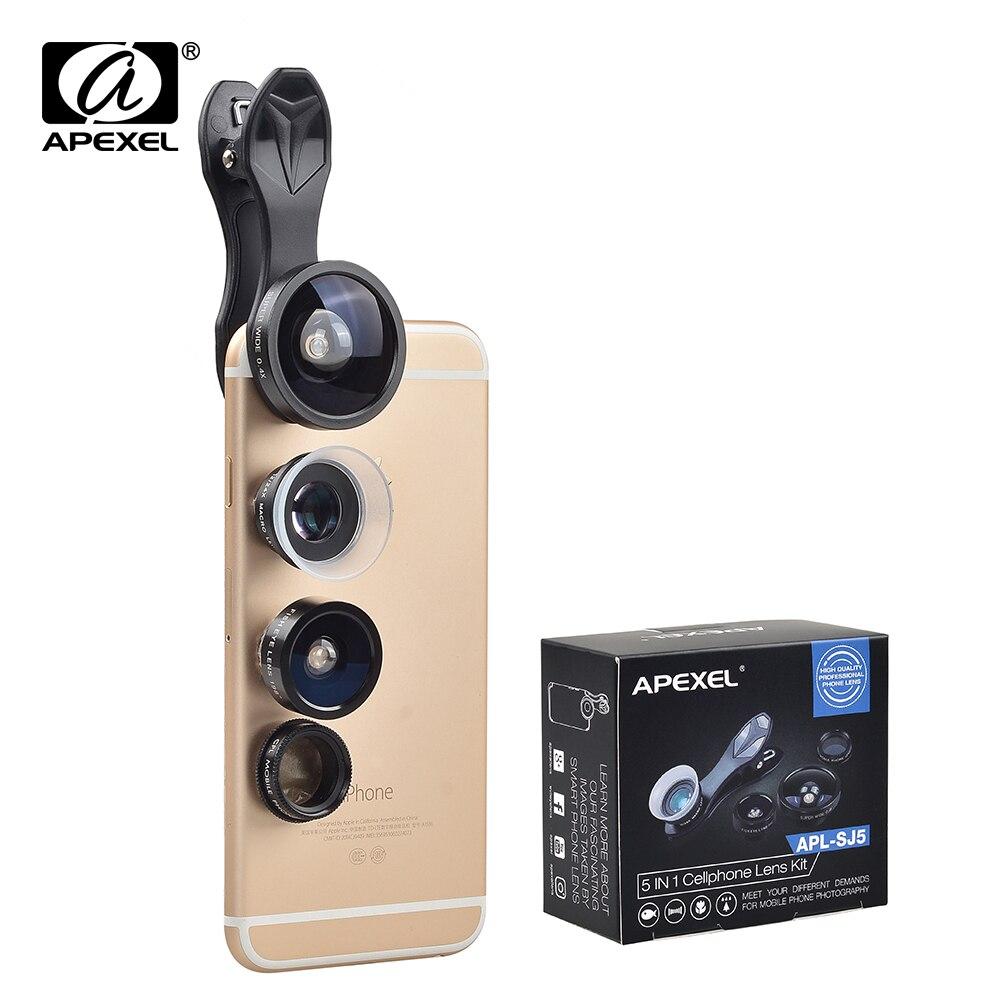 imágenes para APEXEL Clip-on Lente Ojo de Pez + Macro + 24X 12X Teléfono Lente gran y Macro CPL Kit 5 en 1 Lente para iPhone 7 6 S Plus Samsung SJ5