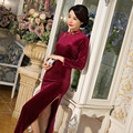 New Arrival Chinese Female Qipao Long Style long sleeve Cheongsam Women Traditional Velour Dress Size M L XL XXL XXXL 1858LY