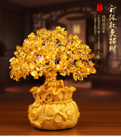 Christmas New Year gifts Huang Crystal Lucky tree Decoration Fortune tree small ornaments Creative Crafts cash cow