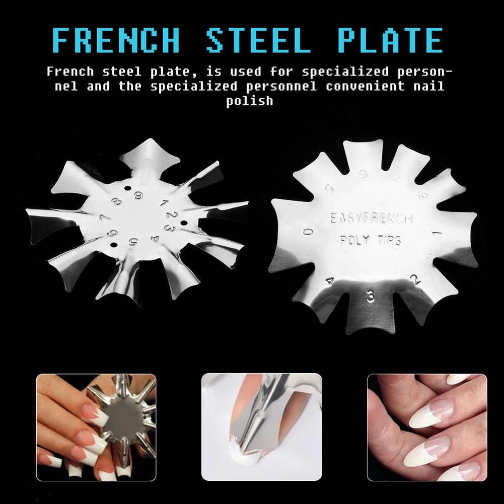 In Acciaio Inox Francese Manicure Modello Unghie Artistiche Template Strumento Nave di Goccia