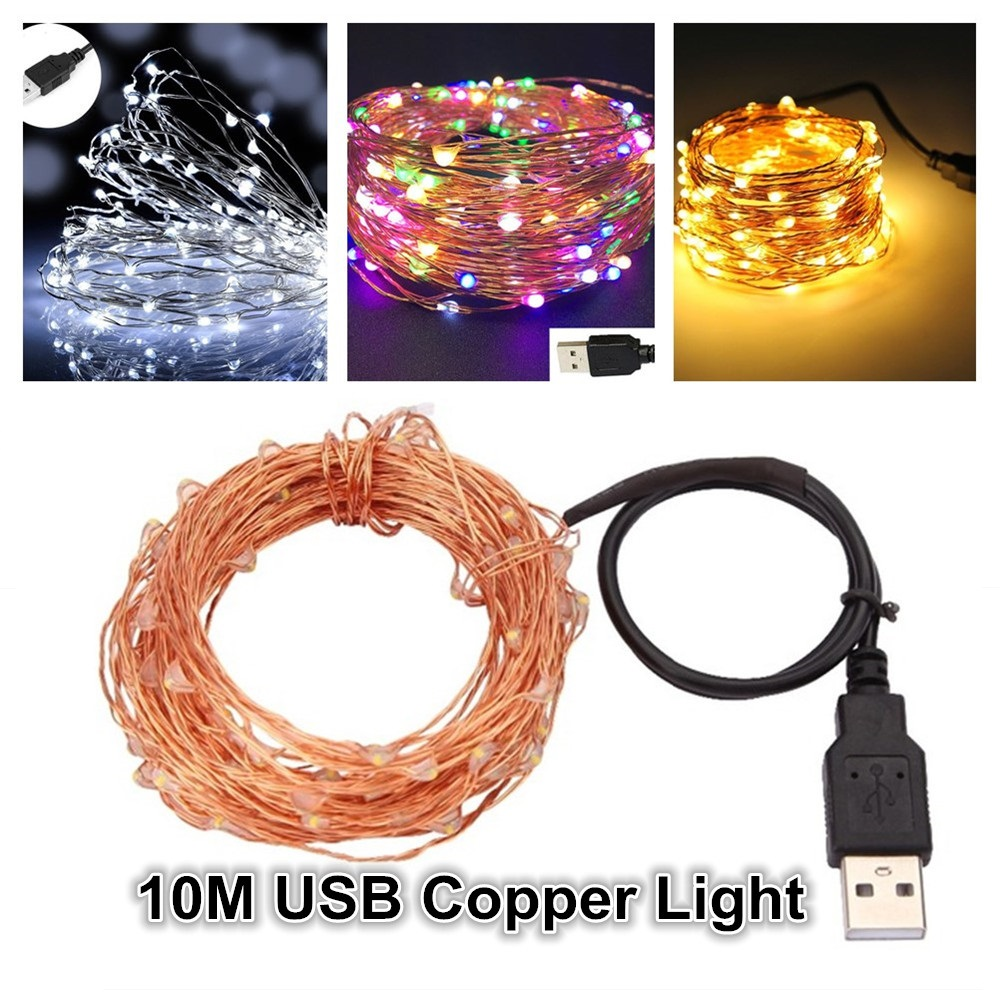 Factory Directly 5M 10M LED USB Copper Wire String Light USB Connector Outdoor LED String Fairy Lights Copper Wire Party Decor