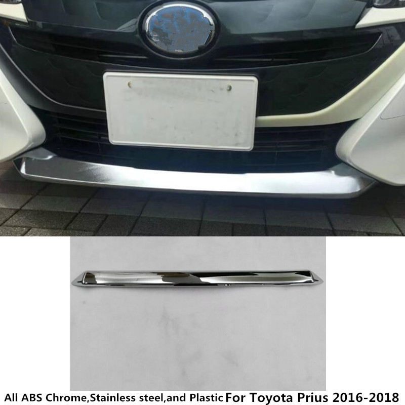 For Toyota Prius 2016 2017 2018 Car body cover Bumper ABS Chrome trim Front protection bar Grid Grill Grille frame edge 1 high quality for toyota highlander 2015 2016 car cover bumper engine abs chrome trims front grid grill grille frame edge 1pcs
