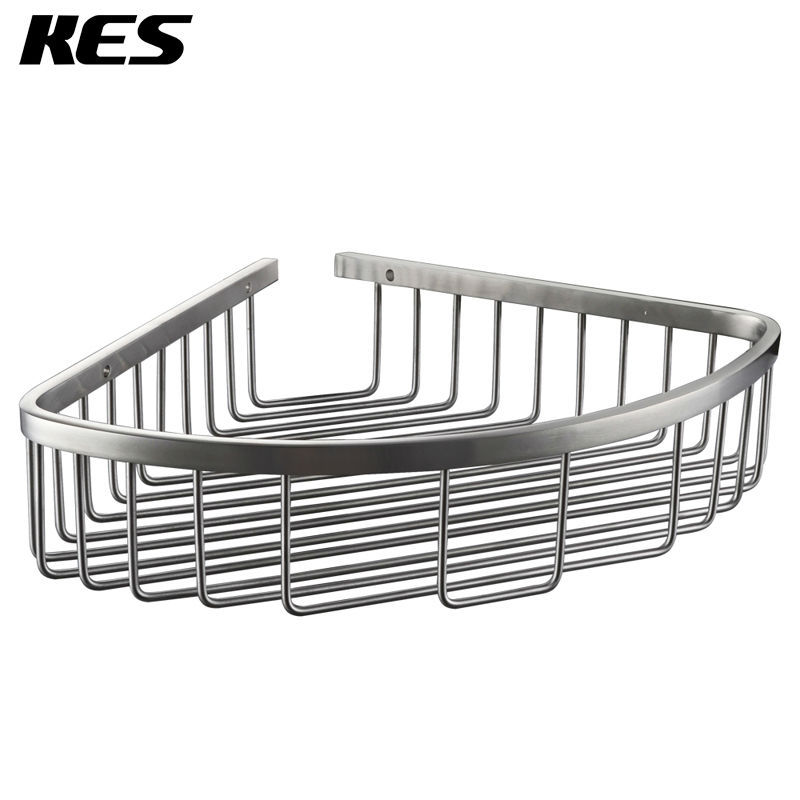 KES A2123A 2 Bathroom Corner Triangular Tub And Shower Caddy Basket,  Brushed Stainless Steel