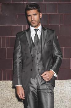 Custom Made Groom Tuxedo Shiny Grey Groomsmen Peak Lapel Wedding/Dinner Suits Best Man Bridegroom (Jacket+Pants+Tie+Vest) B484