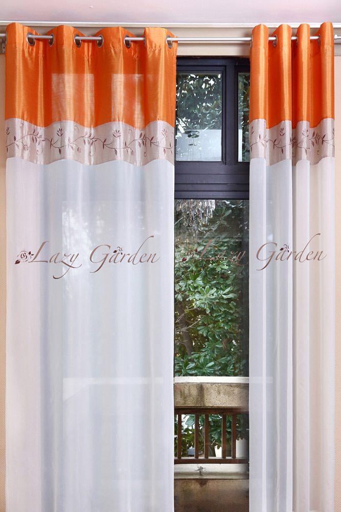 Free Shipping Eyelet Embroidery Voile Window Curtains For