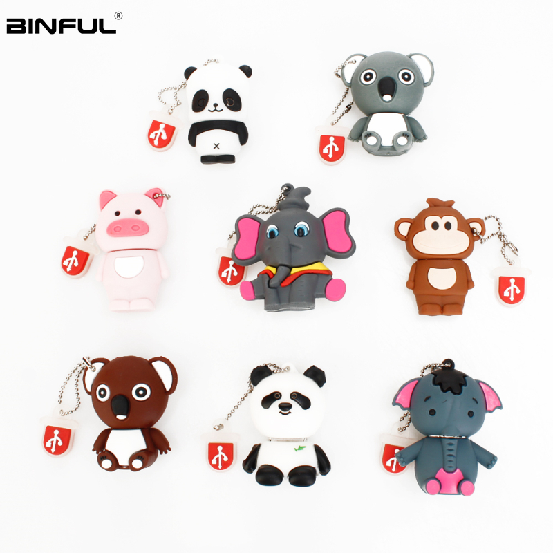 Pen Drive 32gb Cartoon Pink Pig/Monkey/Elephant/Koala Usb Flash Drive 64gb 128gb 16gb 8gb 4gb Pendrive Best Gift Free Shipping-in USB Flash Drives from Computer & Office