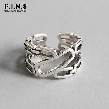 9f601530428c F.I.N.S S925 anillos de plata esterlina para mujeres Retro vieja cadena  hueco de plata 925 anillo ajustable abierto declaración de anillo de dedo