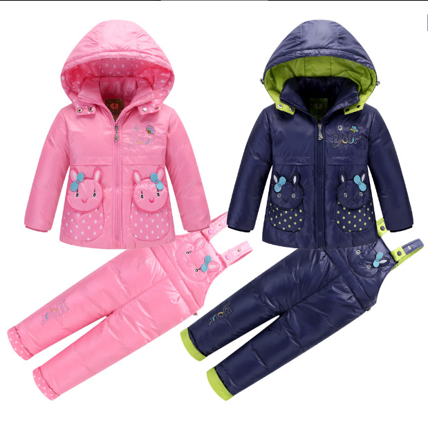 2017 Winter Children Kids Baby girl boy outwear cartoon animal Snow suits down coat Jacket+overalls Pants 2pcs/set kids clothes