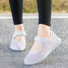 New Spring Summer Air Mesh Women Walking Shoes Flat Soft Bottom Female Sneakers Breathable Purple Pink Red Hook Loop Lady Shoes