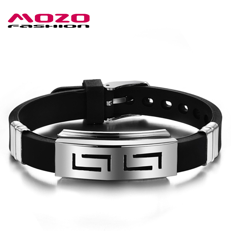 Popular Bangle Bracelets: MOZO FASHION Men's Popular Bracelets Silicone Rubber