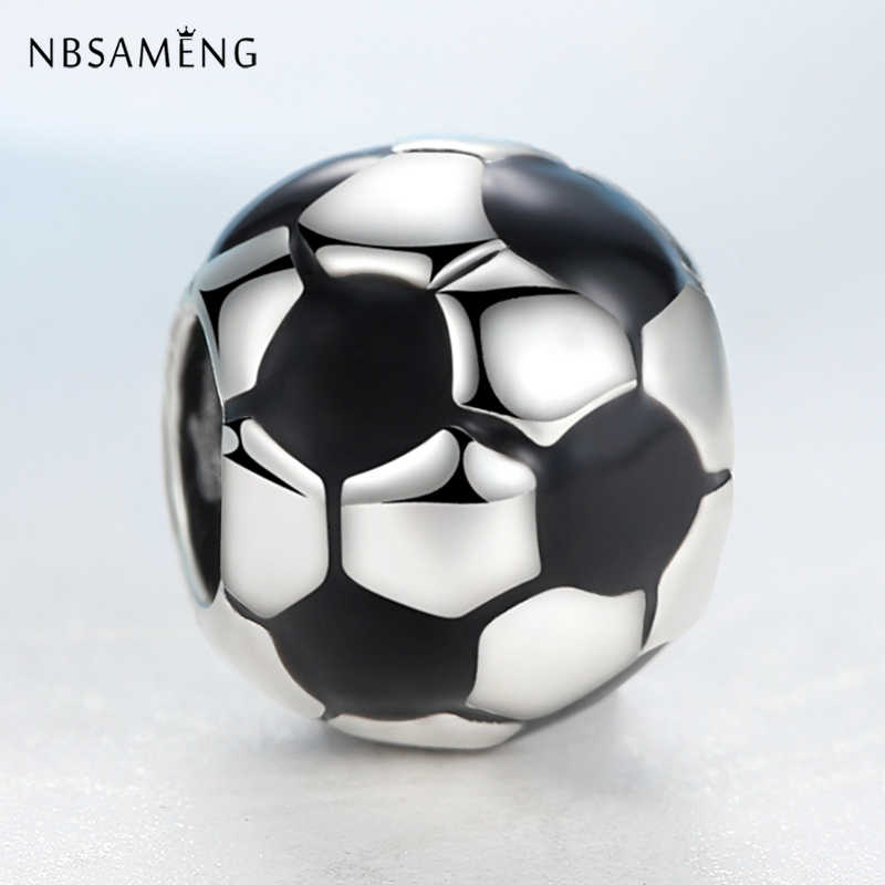 New Silver Plated Charm Bead Football Soccer Enamal Charms Fit Pandora Bracelets Bangles DIY Women Jewelry
