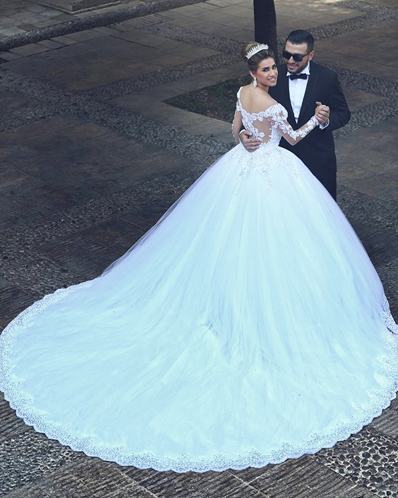 Buy 2015 long sleeve wedding dress v neck for Where to buy yasmine yeya wedding dresses