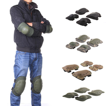 4pcs/set 5 Colors Military Tactical Adjustable Knee & Elbow Protective Pads Elbow Support Knee Pads For CS Outdoor Equip