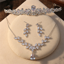 AAA Clear Cubic Zirconia Jewelry Set Marquise Zircon Necklace Choker Women Fashion Drop Earrings Princess Bridal Wedding Tiara