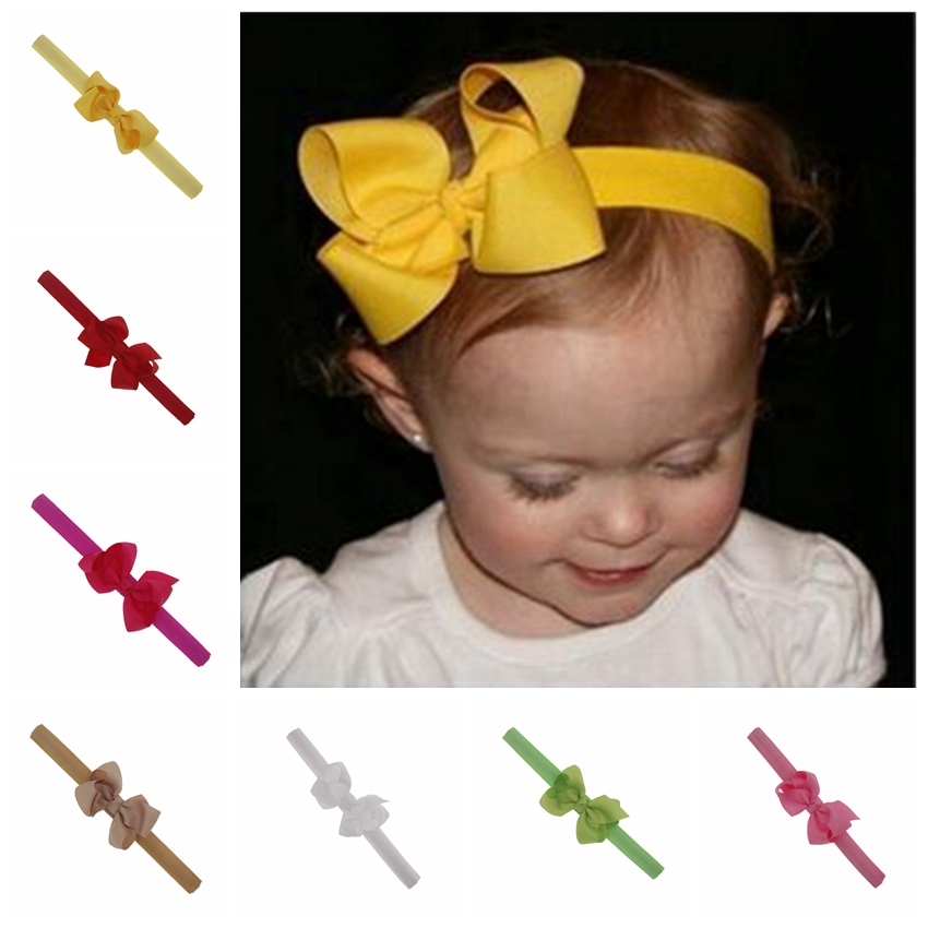 3inch Baby Headband Kid Boutique Baby Hair Bows Elastic Tie Headband Grosgrain Ribbon Girls Hair Band Children Hair Accessories