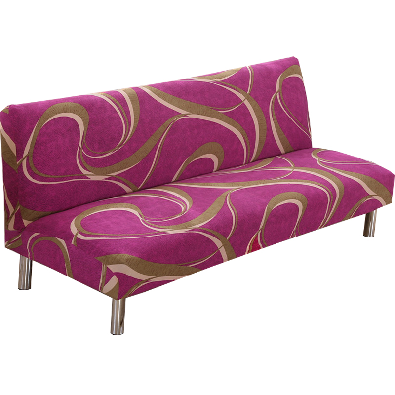 No Armrest Folding Plum red Sofa Cover All inclusive Couch