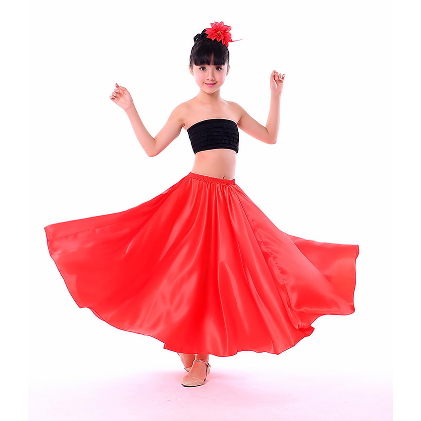 110-150cm Teenager Halloween Party Dress Girls Spanish Flamenco Skirt Solid Satin High Quality Swing Skirt for Princess Girls