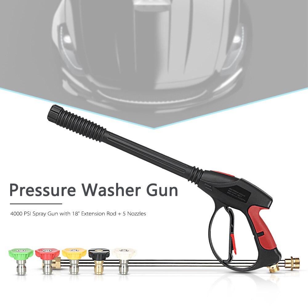 Nettoyeur haute pression Pistolet 4000 PSI Pistolet avec 18 Rallonge + 4 Buses À Connexion Rapide 1 Savon Buse pour Voiture Rondelles