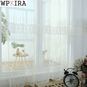 White Yarn Tulle Curtains for