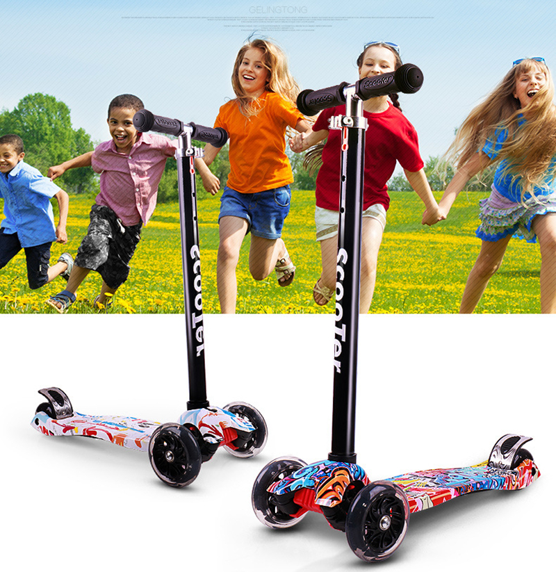 Kids Foot Scooters with Adjustable Flashy Wheel Children pedal scooter tricycle scooters For Over Three Years Old puma puma vikky