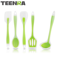 TEENRA 5Pcs Non Stick Silicone Cooking Utensil Set Silicone Spatula Ladle Soltted Turner Spoon Silicone Kitchen