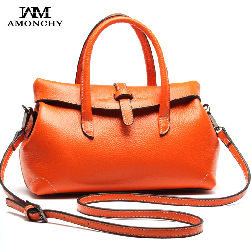AMONCHY Genuine Leather Women Handbags Real Cowhide Totes For Female High Quality Ladies Shoulder Bags Brand Fashion Boston Bag soft cowhide genuine leather women shoulder bags fashion handbags simple european style boston messenger bag pillow female packs