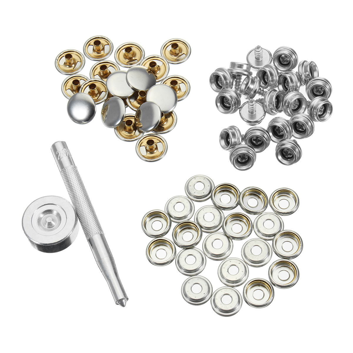 62Pcs set 3/8 Snap Fastener Boat Marine Cover Canvas Canopy Snap Fastener Sockets Screw for Boat Home Furniture