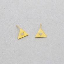 GORGEOUS TALE Stainless Steel Vintage Jewelry Geometric Gold Color Triangle Earring For Women Legend of Zelda Triforce Earrings