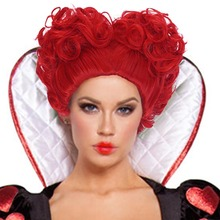 Adult Hearts of Queen Costume Deluxe Red Wig  Curly Bob Short Hair Fancy Dress Party Halloween Accessories