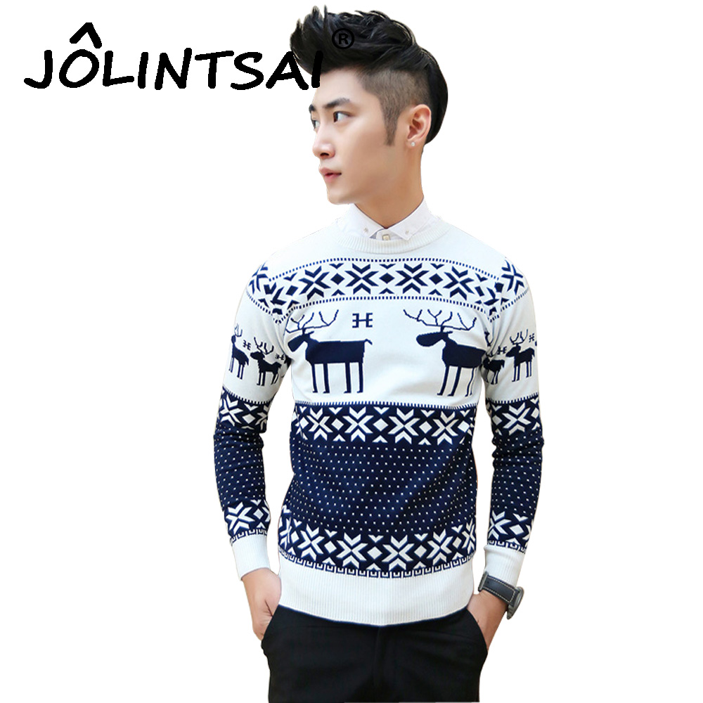 Fashion Reindeer Sweater Men O Neck Long Sleeve Christmas Sweater Men Knitted Pullover New Year Christmas Clothes Gift for Men-in Pullovers from Men\'s ...