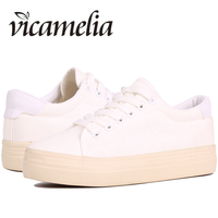 Vicamelia Women White Canvas Sneakers Slipony Platform Flat Sneakers Comfortable Casual Shoes Chaussure Femme Zapatos Mujer