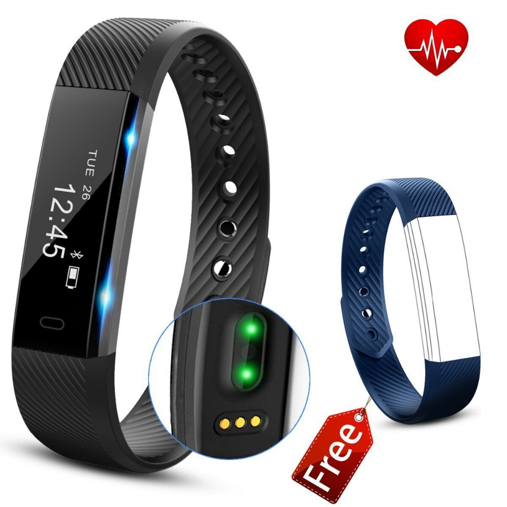 Hembeer ID115 HR Heart Rate Monitor Smart Band Fitness Tracker Bracelet Sleep Tracker Step Counter with replacement strap lemfo id115 hr plus smart bracelet fitness and sleep tracker pedometer heart rate monitor smart band wristband