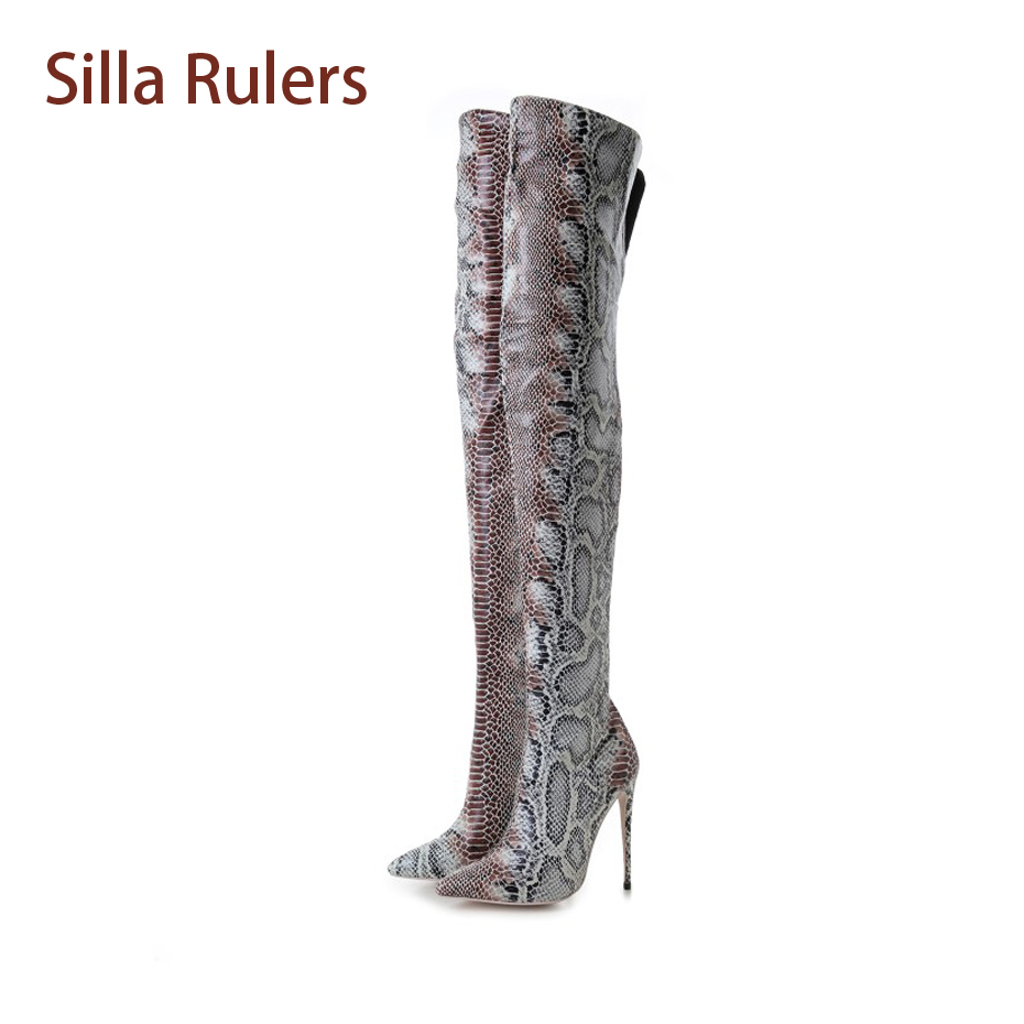 Silla Rulers Sexy Lady Thigh High Boots Snakeskin Pointed Toe Thin Heel Long Boots Fashion Snake Pumps Side Zipper Women Boots
