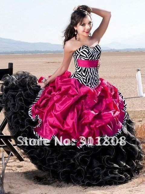 aff8652a7b30 Free Shipping Zebra Stripes Quinceanera Dresses Ball Gown Wholesale/retail  Customize Any Size & Color S22046