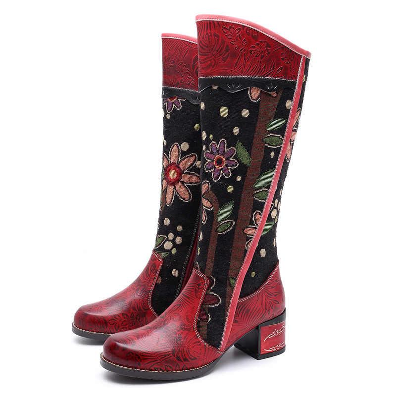 Vintage Patchwork batı kovboy çizmeler kadın ayakkabıları Bohemian hakiki deri ayakkabı kadın orta buzağı çizmeler sonbahar Botas Mujer