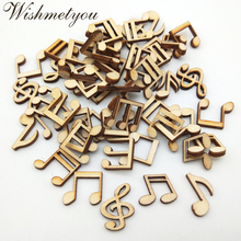 WISHMETYOU 100pcs Mixed Natural Note Pattren Wooden Handcrafts Handmade Cute Music Diy Party Home Crafts Accessories Decoration