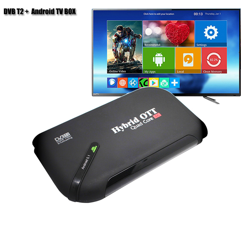 DVBT2 Android TV BOX Dual mode Set Top Box Amlogic S905 Quad Core TV Receiver Support 4K Display H.265 TV BOX ipremium ulive pro tv box android 8gb 4k ultra h 265 tv receiver with mickyhop os and stalker middleware support 10 url adding