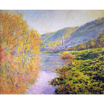 Banks of the Seine at Jeufosse, Autumn by Claude Monet Oil paintings reproduction Landscapes art hand-painted home decor