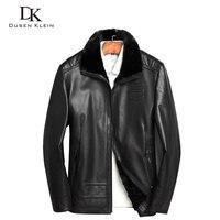 Короткие зимние куртки для мужчин Дюсенов Klein из натуральной овчины тонкий дизайнерские норковый воротник из меха норки меховой подкладкой