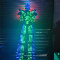 P43 fiesta baile de salón trajes led traje de robot para Hombre Ropa de zancos dj RGB luz a todo color para hombre vestido de discoteca lleva trajes