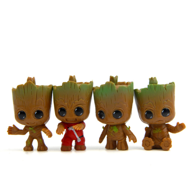 4pcs/set Anime Guardians of the Galaxy Q version Treant Groot Action figure PVC Doll Ornaments Toys For Child Christmas Gifts