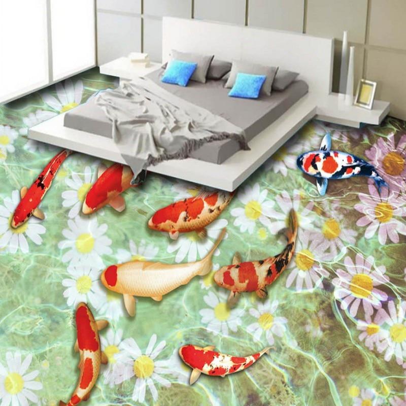 Free Shipping Custom Beautiful Carp Aqua Chrysanthemum Bedroom Living Room studio office 3D Floor wallpaper mural