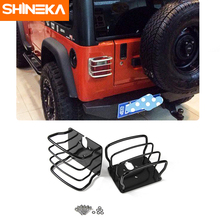 SHINEKA Metal Tail Light Cover Trim Frame Rear Lamp Guard Protective Sticker for Jeep Wrangler TJ 1997-2006  Car Styling shineka car styling soft rubber armrest box trim cap center console storage box soft rubber cover for jeep wrangler tj