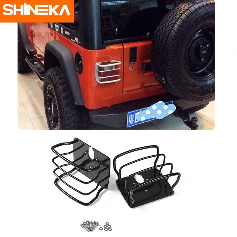 SHINEKA Metal Tail Light Cover Trim Frame Rear Lamp Guard Protective Sticker for Jeep Wrangler TJ 1997 2006 Car Styling