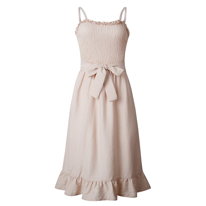 ruffles pleated boho summer beach dress (17)