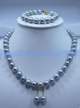 10-11mm yellow white black pink purple Freshwater pearl necklace bracelet set  925silver