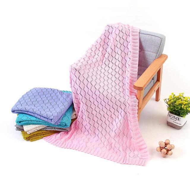 Verão Recém-nascidos Swaddle Cobertores Do Bebê Doce Cor de Crochê Infantil Das Meninas Dos Meninos Da Cama Carrinho De Criança Cobertor 100*80 centímetros Crianças Brincando mat