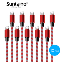 Suntaiho 10 Pack pour iPhone X 8 7 6 5 s Plus pour iPad Pro Air 8 Broches Câble de Données pour iPhone Câble Rapide De Charge USB Câble câble