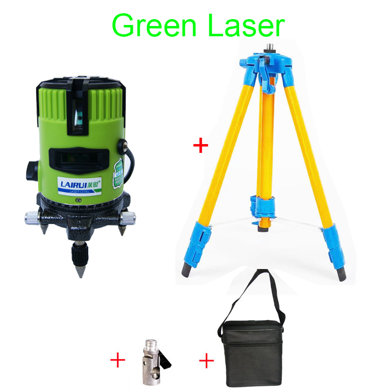LAIRUI brand 5 lines 6 points red green laser level 635nm 360 degree rotary cross laser line level and tripod brand new 1 65m aluminum tripod 5m 5 section dumpy laser level staff for rotary laser level