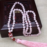 Summer Beach Handmade Knotted Pink Crystal Natural Stone Mala Tassel Rose Stone Necklace